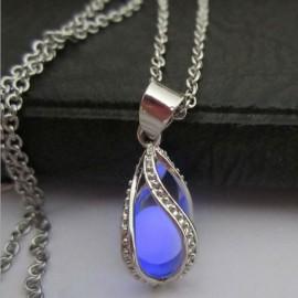 Steampunk Style Hollow Waterdrop Shape Pendant Luminous Stone Necklace Purple