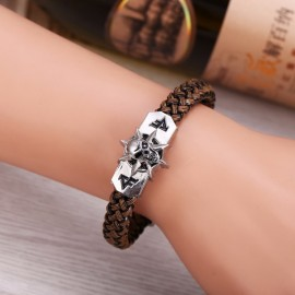 Game Cross Fire CF Replica PU Leather Skeleton Skull Alloy Buckle Cuff Bracelet Christmas Gift