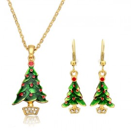 Gold Plated Alloy Necklace & Earrings Set Christmas Tree Pattern