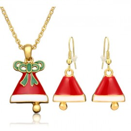 Gold Plated Alloy Necklace & Earrings Set Christmas Snowman Pattern