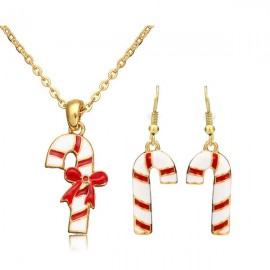 Gold Plated Alloy Necklace & Earrings Set Christmas Candy Cane Pattern