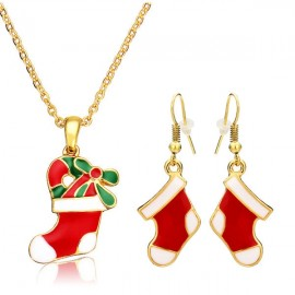 Gold Plated Alloy Necklace & Earrings Set Christmas Stocking Pattern