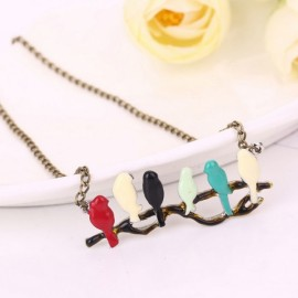 Love Six Bird On Branch Women Long Thin Chain Necklace