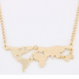 New Fashion Gold Plated World Map Pendant Necklace for Women Golden