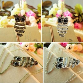 Vintage Antique Alloy Owl Pendant Sweater Necklace 7.5*3.6cm Antique Silver