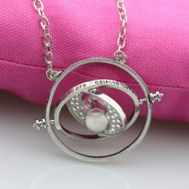 Time Turner Rotating Hourglass Pendant Necklace Silver Edge & White
