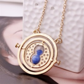 Time Turner Rotating Hourglass Pendant Necklace Golden Edge & Blue