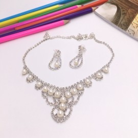 Stylish Rhinestone Pearl Necklace Earrings Bridal Jewelry Set TZ11 Silver