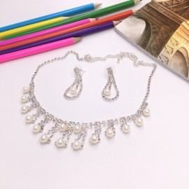 Stylish Rhinestone Pearl Necklace Earrings Bridal Jewelry Set TZ12 Silver