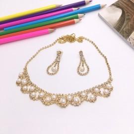 Stylish Rhinestone Pearl Necklace Earrings Bridal Jewelry Set TZ7 Golden
