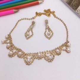 Stylish Rhinestone Pearl Necklace Earrings Bridal Jewelry Set TZ9 Golden