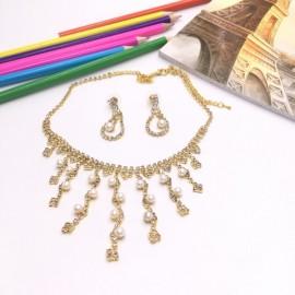 Stylish Rhinestone Pearl Necklace Earrings Bridal Jewelry Set TZ6 Golden