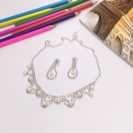 Stylish Rhinestone Pearl Necklace Earrings Bridal Jewelry Set TZ10 Silver