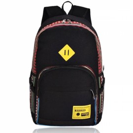 New Ethnic Style Canvas Unisex Backpack Schoolbag Outdoor Travel Bag Black