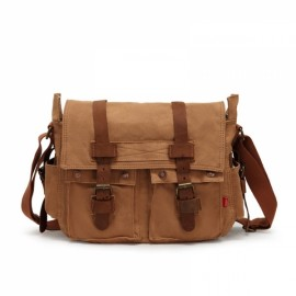 Retro Canvas and Belt Design Single Shoulder Men's Messenger Bag Tan