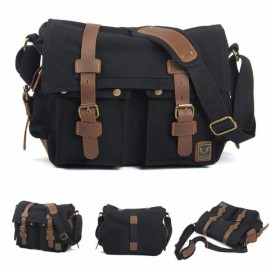 Retro Canvas and Belt Design Single Shoulder Men's Messenger Bag Black
