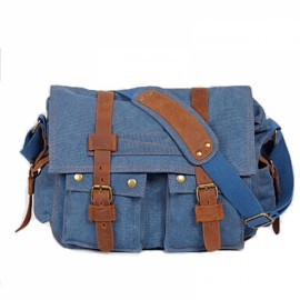 Retro Canvas and Belt Design Single Shoulder Men's Messenger Bag Blue
