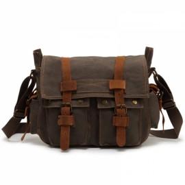 Retro Canvas and Belt Design Single Shoulder Men's Messenger Bag Army Green