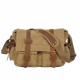 Retro Canvas and Belt Design Single Shoulder Men's Messenger Bag Light Coffee