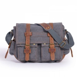 Retro Canvas and Belt Design Single Shoulder Men's Messenger Bag Gray