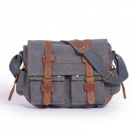 Retro Canvas and Belt Design Single Shoulder Men's Messenger Bag Gray
