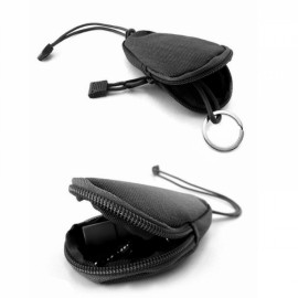 Mini Outdoor EDC Carrying Bag Portable Key Purse Wallet Travel Key Pouch with Inner Stainless Key Ring Black