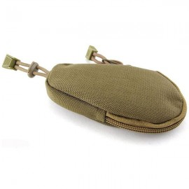 Mini Outdoor EDC Carrying Bag Portable Key Purse Wallet Travel Key Pouch with Inner Stainless Key Ring Coyote Brown