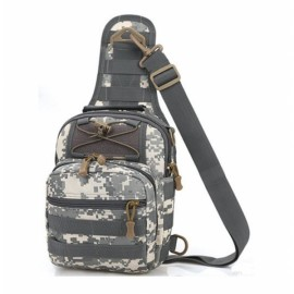 Leisure Outdoor Sling Bag Haversack Crossbody Bag for Hiking Camping Climbing Gray Digital Camouflage