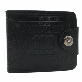 Men US Dollar Pattern PU Leather Bifold Wallet Purse Card Holder Black