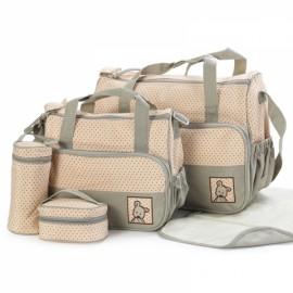 5pcs Mommy Bag + Feeding Bottle Bag + Lunch Bag + Diaper Mat + Multifunction Nappy Bag Handbag Shoulder Bag Set Khaki
