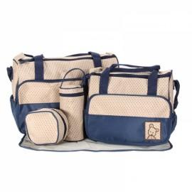 5pcs Mommy Bag + Feeding Bottle Bag + Lunch Bag + Diaper Mat + Multifunction Nappy Bag Handbag Shoulder Bag Set Dark Blue