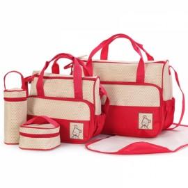 5pcs Mommy Bag + Feeding Bottle Bag + Lunch Bag + Diaper Mat + Multifunction Nappy Bag Handbag Shoulder Bag Set Red