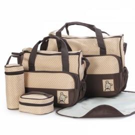 5pcs Mommy Bag + Feeding Bottle Bag + Lunch Bag + Diaper Mat + Multifunction Nappy Bag Handbag Shoulder Bag Set Coffee
