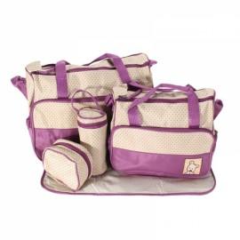 5pcs Mommy Bag + Feeding Bottle Bag + Lunch Bag + Diaper Mat + Multifunction Nappy Bag Handbag Shoulder Bag Set Purple