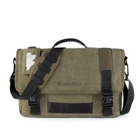 Multifunctional Large Capacity 17.3 inch Laptop Bag Unisex Canvas Crossbody Bag Handbag Army Green