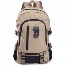 Unisex Outdoor Canvas Bag Backpack Shoulder Bag Hiking Rucksack Satchel Light Khaki