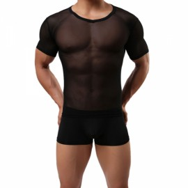 Sexy See-through Mesh Short Sleeve Men's Underwear T-shirt Black