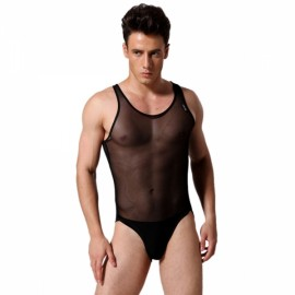 Sexy See-through Mesh Sleeveless Men's Underwear Jumpsuit Black