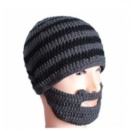 Men Winter Knit Crochet Beard Beanie Mustache Face Mask Ski Snow Hat Black & Gray Stripe