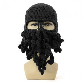 Unisex Winter Warm Knitted Crochet Wool Ski Face Mask Octopus Squid Cap Beanie Hat Black