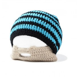 Men Winter Knit Crochet Beard Beanie Mustache Face Mask Ski Snow Hat Black & Blue Stripe
