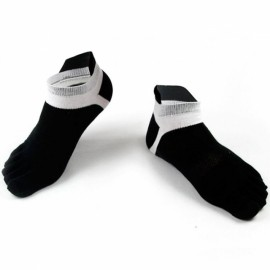 Men's Five Toes Cotton Socks Mesh Breathable Sports Running Finger Socks Black