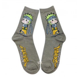 Naruto Cartoon Series Akimbo Uzumaki Pattern Combed Cotton Autumn and Winter Socks for Men Light Grey