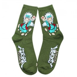 Naruto Cartoon Series Jiraiya Pattern Combed Cotton Autumn and Winter Socks for Men Green