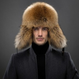 Winter Men Real Silver Fox Fur Lei Feng Cap with Leather Camel