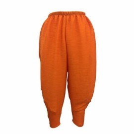 Large Size Women's Elastic Fried Chicken Pants - Orange & XXL