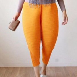 Large Size Women's Elastic Fried Chicken Pants - Yellow & XL