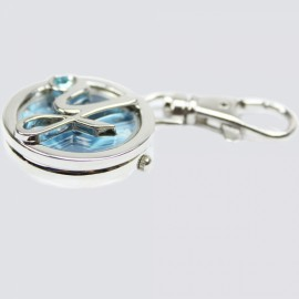 [Clearance] Metal Letter Y Design Quartz Pocket Watch Keychain Blue