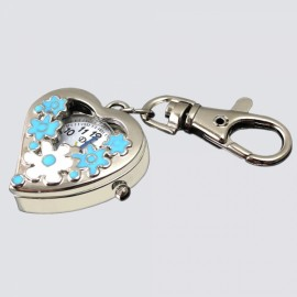 Sweet Heart Flower Quartz Pocket Watch Keychain Blue