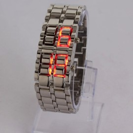 Fashion Elegant Lava Red Digital Display LED Steel Band Wrist Watch Silver
